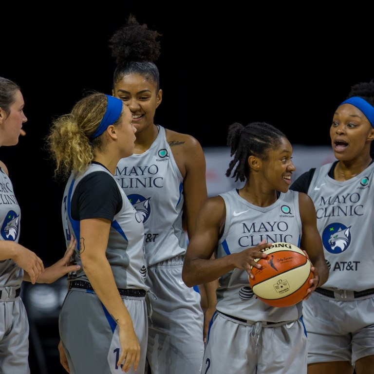 The Minnesota Lynx celebrate during Game 2 of the WNBA Semifinals against the Seattle Storm at Feld Entertainment. Mandatory Credit: Mary Holt-USA TODAY Sports