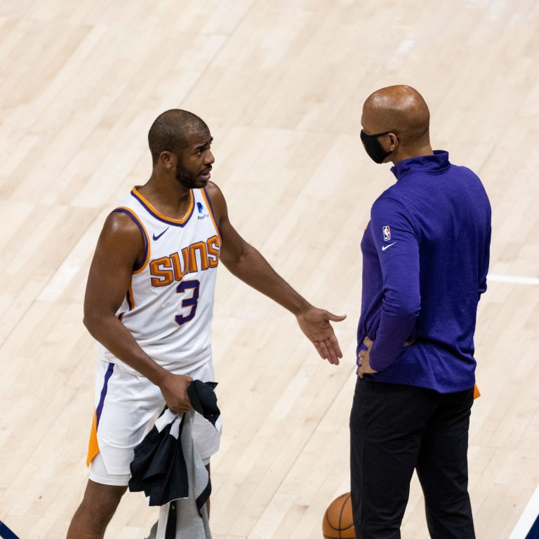 Phoenix Suns guard Chris Paul speaks with head coach Monty Williams (right) as the Suns take on the Utah Jazz at Vivint Smart Home Arena. Mandatory Credit: Gabriel Mayberry-USA TODAY Sports