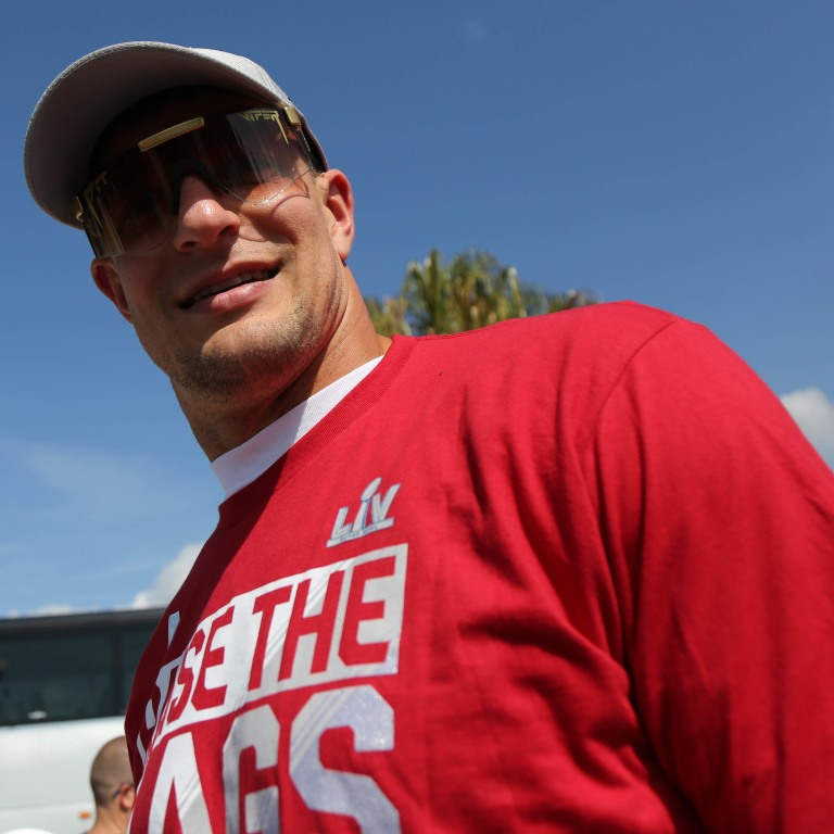 Tampa Bay Buccaneers tight end Rob Gronkowski arrives for a boat parade to celebrate victory in Super Bowl LV against the Kansas City Chiefs. Mandatory Credit: Kim Klement-USA TODAY Sports