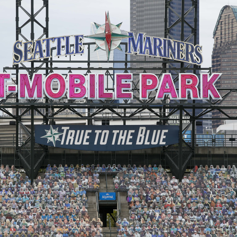 Seattle Mariners fan cutouts at T-Mobile Park. Mandatory Credit: Joe Nicholson-USA TODAY Sports