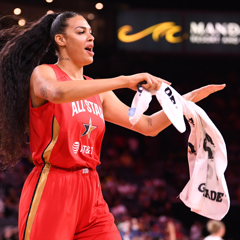 Center Liz Cambage celebrates after Team Wilson defeated Team Delle Donne in the WNBA All Star Game at Mandalay Bay Events Center. Mandatory Credit: Stephen R. Sylvanie-USA TODAY Sports