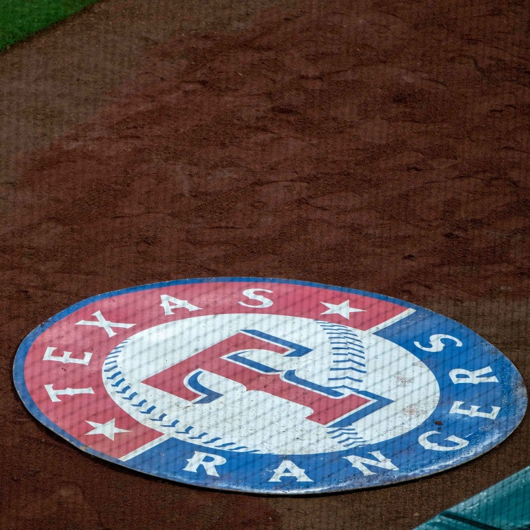 A view of the Texas Rangers logo and batters circle at Globe Life Park in Arlington. Mandatory Credit: Jerome Miron-USA TODAY Sports