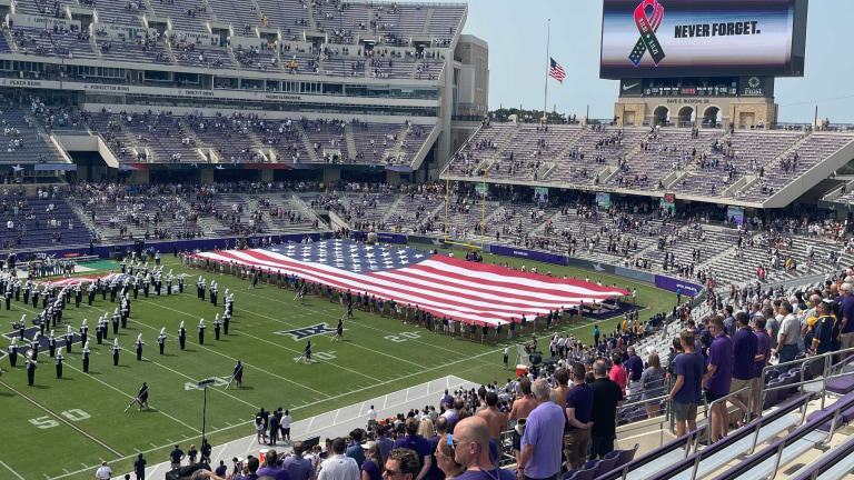 TCU honors the fallen before its game against Cal. (Ben Rebstock/Bally Sports)