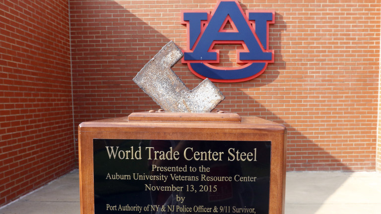 A piece of the World Trade Center is on display in the endzone before the kickoff between Auburn and Alabama State Saturday. (AP Photo/Butch Dill)