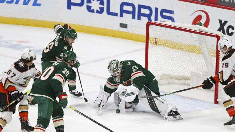 Monday, March 22: Wild goalie Cam Talbot stops the puck against the Anaheim Ducks.