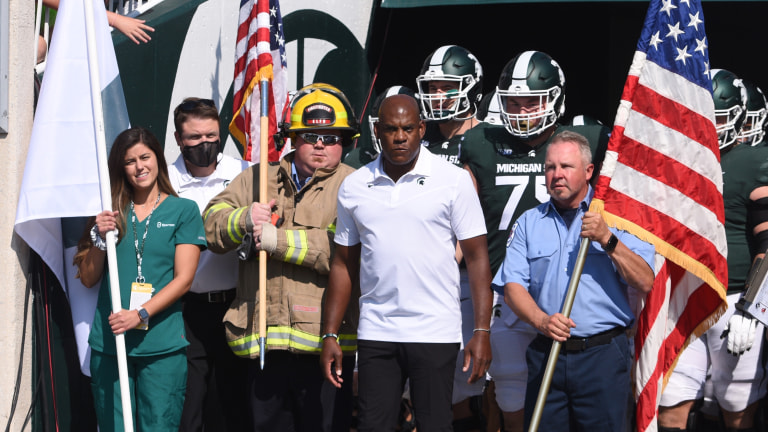 Michigan State Spartans head coach Mel Tucker takes the field with first responders before the game against the Youngstown State Penguins at Spartan Stadium. (Tim Fuller-USA TODAY Sports)