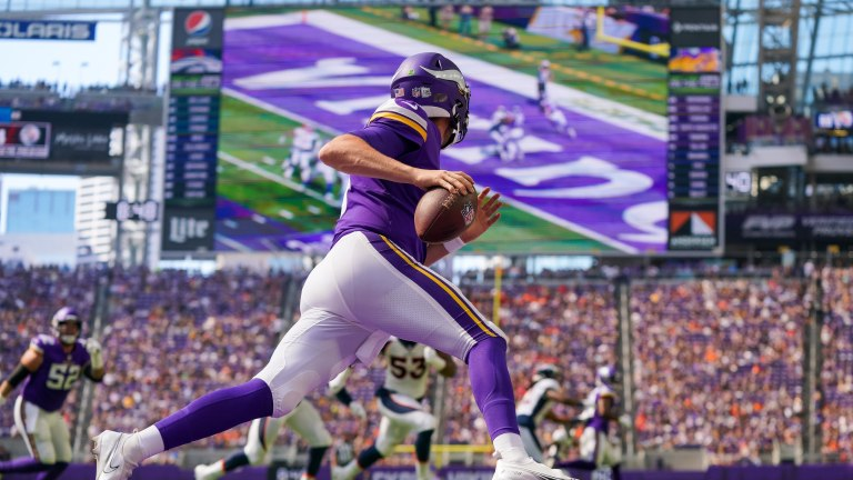 Saturday, Aug. 15: Vikings quarterback Jake Browning (3) scrambles against the Denver Broncos in the first quarter at U.S. Bank Stadium.