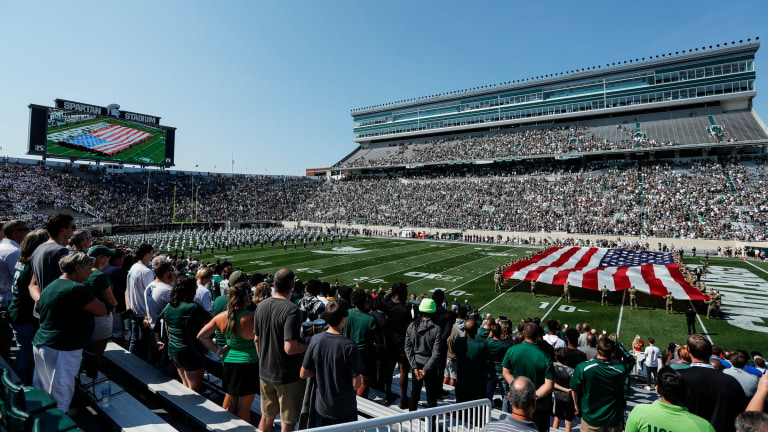 Michigan State honors 9/11 first responders before the Youngstown State game at Spartan Stadium in East Lansing on Saturday, Sept. 11, 2021. (Junfu Han via Imagn Content Services, LLC)