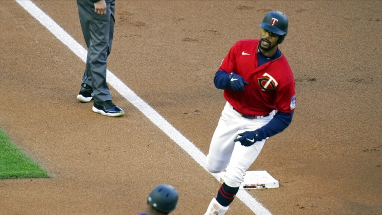 Tuesday, May 4: Twins' Byron Buxton rounds third base after a two-run home run off Texas Rangers' pitcher Kyle Gibson.