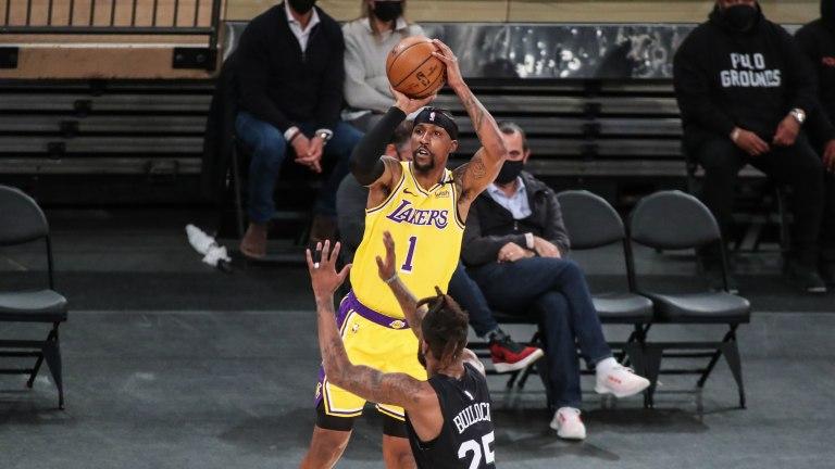 Apr 12, 2021; New York, New York, USA; Los Angeles Lakers guard Kentavious Caldwell-Pope (1) at Madison Square Garden. Mandatory Credit: Wendell Cruz-USA TODAY Sports