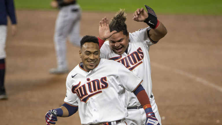 Tuesday, May 18: Willians Astudillo chases down teammate Jorge Polanco after the infielder notched a walk-off hit in the Minnesota Twins' 5-4 win over the Chicago White Sox at Target Field.