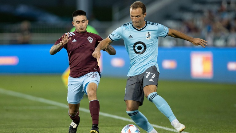 Wednesday, July 7: Minnesota United FC defender Chas Gasper controls the ball under pressure from Colorado midfielder Braian Galvan in the second half.