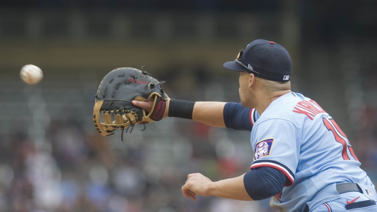 Wednesday, July 7: Minnesota Twins first baseman Alex Kirilloff stretches to record an out during the 6-1 loss to the Chicago White Sox at Target Field.