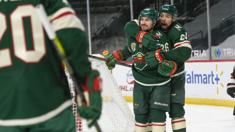 Wednesday, April 14: Minnesota Wild right wing Mats Zuccarello, second from right, celebrates with Wild defenseman Matt Dumba after Zuccarello scored a goal against the Arizona Coyotes during the first period of an NHL hockey game.