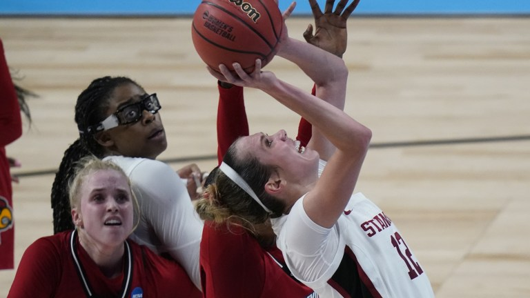 Stanford's Lexie Hull shoots against Louisville. (AP Photo/Eric Gay)