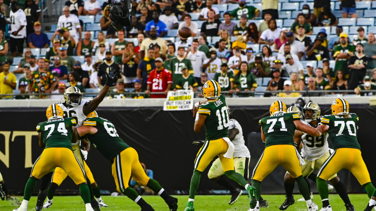 Green Bay Packers quarterback Jordan Love drops back to pass during the fourth quarter against the New Orleans Saints at TIAA Bank Field.