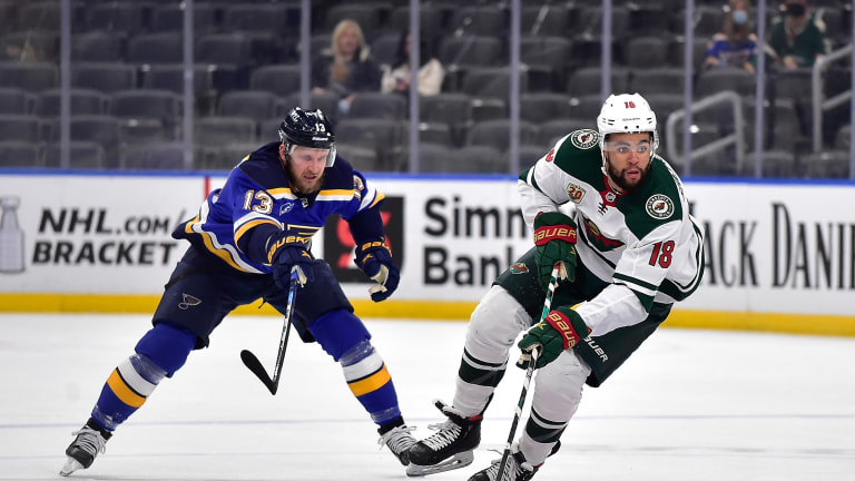 Thursday, May 13: Minnesota Wild left wing Jordan Greenway handles the puck during the first period against the St. Louis Blues at the Enterprise Center.