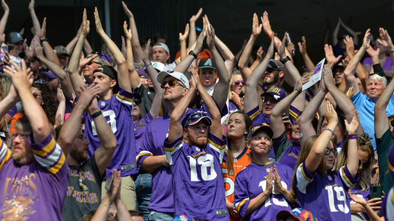Saturday, Aug. 14: Vikings fans gather before the game against the Denver Broncos at U.S. Bank Stadium.