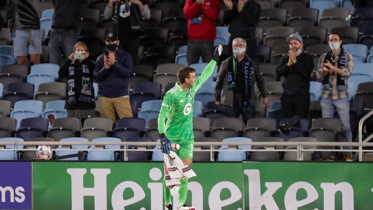 Wednesday, May 12: Minnesota United goalie Tyler Miller salutes the fans after a 1-0 victory over the Vancouver Whitecaps at Allianz Field.
