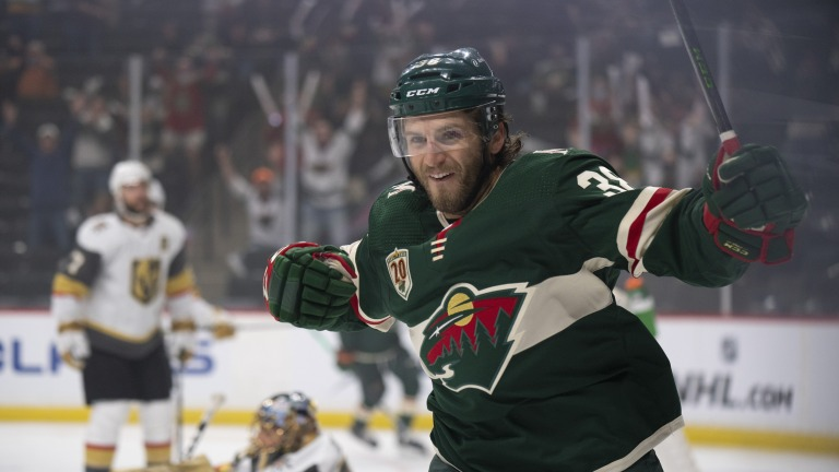 Thursday, May 20: Minnesota Wild right-wing Ryan Hartman celebrates his first-period goal against the Vegas Golden Knights in Game 3 of an NHL hockey first-round playoff series.