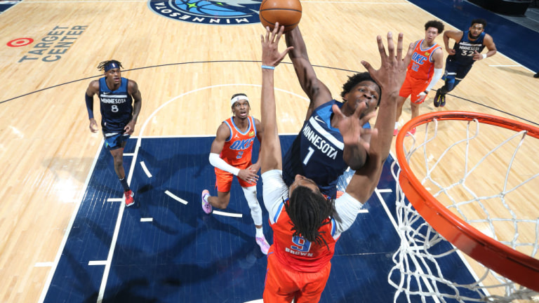 Monday, March 22: Timberwolves rookie Anthony Edwards dunks the ball during the game against the Oklahoma City Thunder.