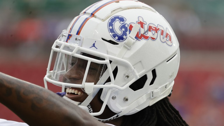 A detail view of Florida Gators safety Corey Collier Jr. as he wears a helmet  in honor of 9/11 prior to the game against the South Florida Bulls at Raymond James Stadium. (Kim Klement-USA TODAY Sports)