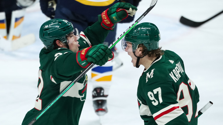Saturday, May 1: Kevin Fiala and Kirill Kaprizov celebrate after a Minnesota Wild goal.