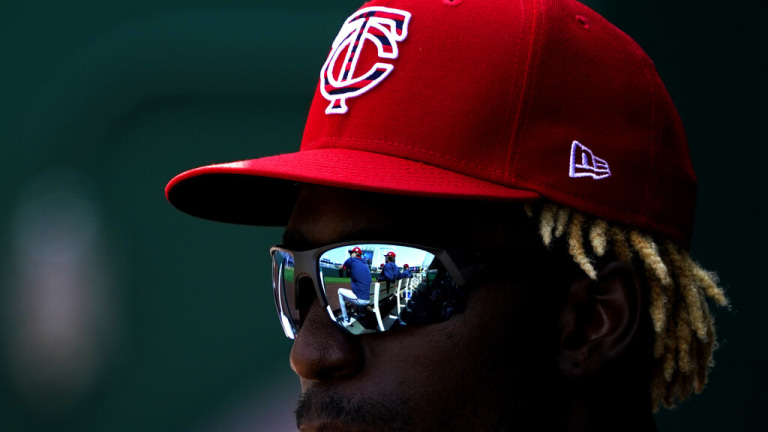 Saturday, July 3: Twins' Nick Gordon watches from the dugout during the first inning of a baseball game against the Kansas City Royals.