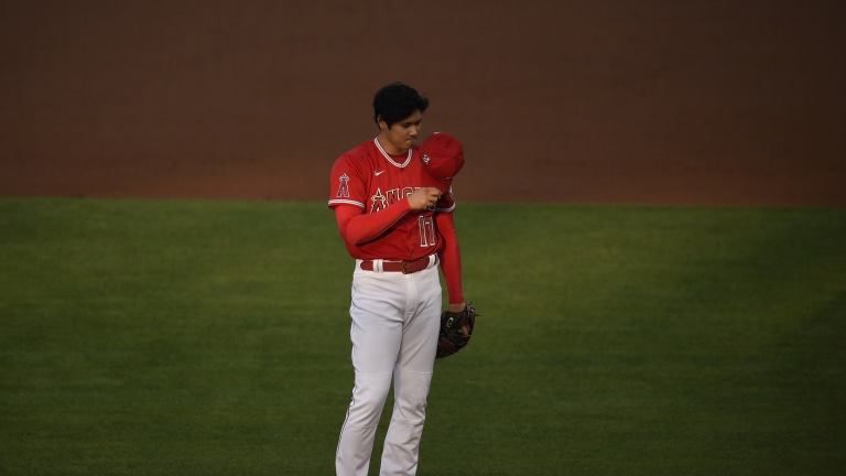May 5, 2021; Anaheim, California, USA; Los Angeles Angels starting pitcher Shohei Ohtani (17) waits on the mound prior to a pitch during the first inning against the Tampa Bay Rays at Angel Stadium. Mandatory Credit: Kelvin Kuo-USA TODAY Sports