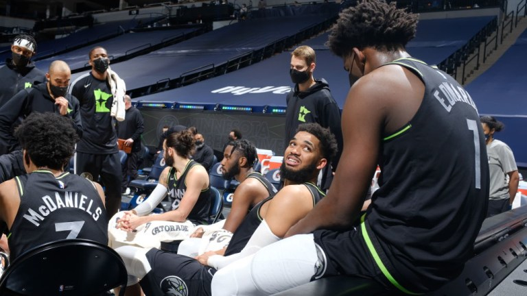 Friday, March 25: Timberwolves' Karl-Anthony Towns and Anthony Edwards talk during the game against the Houston Rockets.