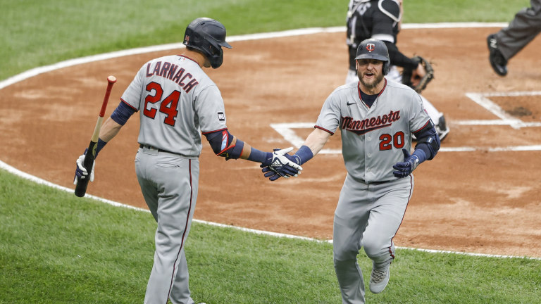 Tuesday, June 29: Twins third baseman Josh Donaldson celebrates with right fielder Trevor Larnach after hitting a home run against the Chicago White Sox.