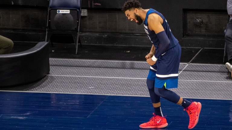 Monday, April 26: Karl-Anthony Towns reacts after the Timberwolves defeated the Utah Jazz.