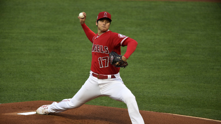 May 5, 2021; Anaheim, California, USA; Los Angeles Angels starting pitcher Shohei Ohtani (17) delivers a pitch during the first inning against the Tampa Bay Rays at Angel Stadium. Mandatory Credit: Kelvin Kuo-USA TODAY Sports