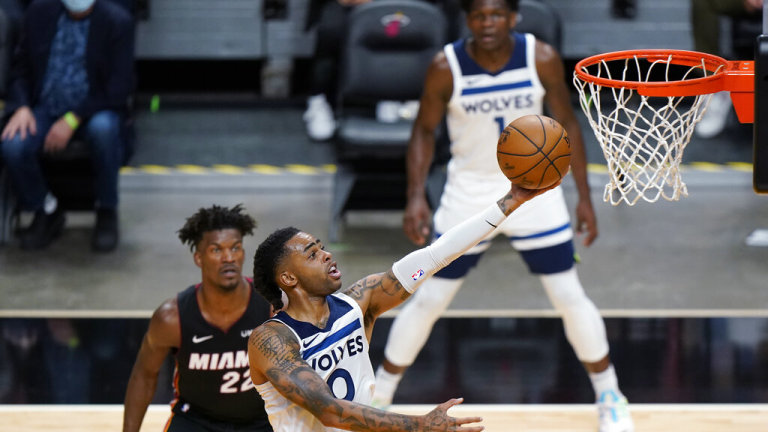 Wednesday, May 5: Timberwolves guard D'Angelo Russell goes up for a shot against the Miami Heat.