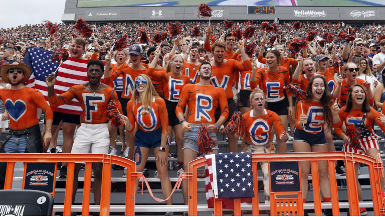Auburn students use body paint to remember 9/11 during the first half of a game against Alabama State. (AP Photo/Butch Dill)