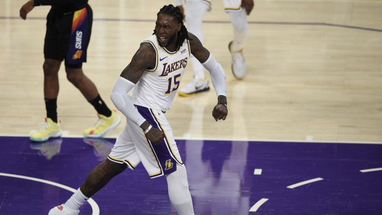 May 9, 2021; Los Angeles, California, USA; Los Angeles Lakers center Montrezl Harrell (15) reacts after a dunk during the second half\ against the Phoenix Suns at Staples Center. Mandatory Credit: Kelvin Kuo-USA TODAY Sports