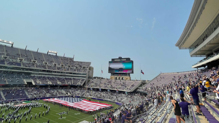 A flyover happens while fans reflect on the 20th anniversary of the 9/11 attacks at TCU. (Ben Rebstock/Bally Sports)