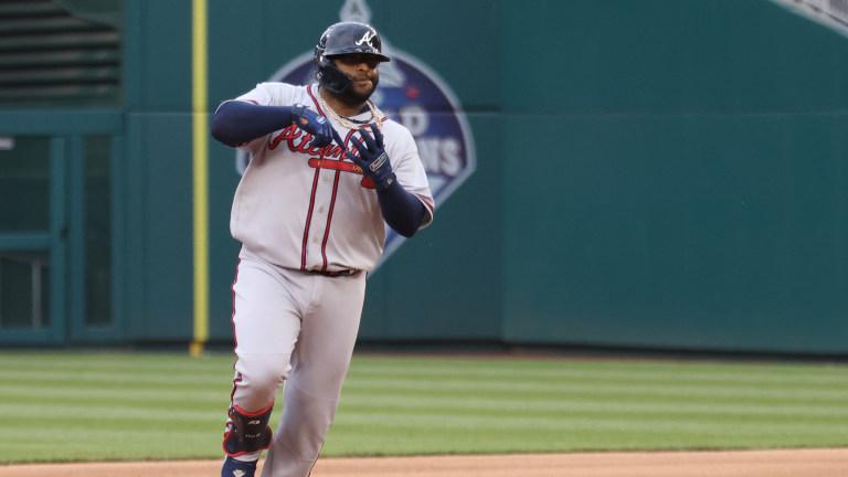 Atlanta Braves third baseman Pablo Sandoval (48) rounds the bases after hitting a two run home run against the Washington Nationals.