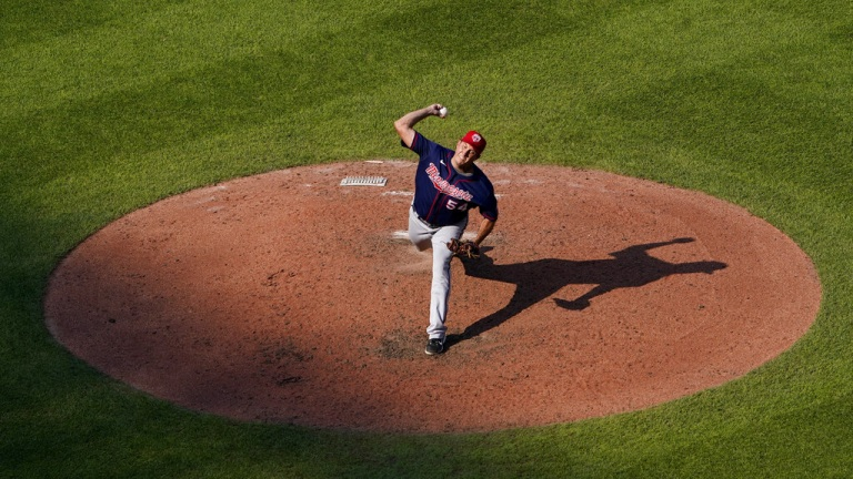 Saturday, July 3: Twins relief pitcher Derek Law throws during the seventh inning of the team's baseball game against the Kansas City Royals.