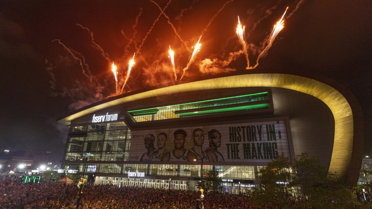 Fireworks explode over Fiserv Forum after the Milwaukee Bucks defeated the Phoenix Suns in Game 6 of the NBA basketball finals Tuesday, July 20, 2021, in Milwaukee. (AP Photo/Jeffrey Phelps)