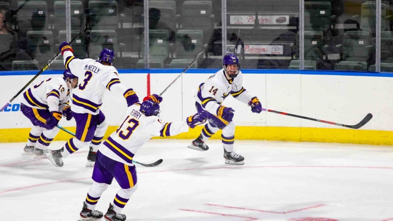 Saturday, March 27: Minnesota State celebrates a victory over Quinnipiac in the first round of the NCAA tournament. (Courtesy MSU athletics)
