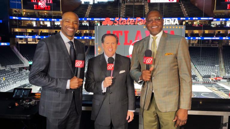 Atlanta Hawks broadcasters (L-R) Vince Carter, Bob Rathbun and Dominique Wilkins