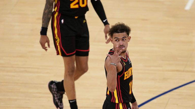 May 23, 2021; New York, New York, USA; Atlanta Hawks guard Trae Young (11) gestures during the second half in game one in the first round of the 2021 NBA Playoffs against the New York Knicks at Madison Square Garden. Mandatory Credit: Seth Wenig/Pool Photo-USA TODAY Sports