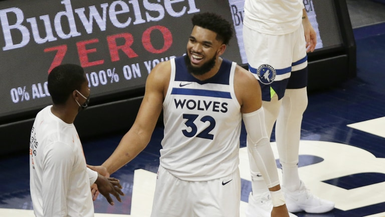 Sunday, May 16: Karl-Anthony Towns smiles after fouling out during the Minnesota Timberwolves' 136-121 win over Dallas to close out the 2020-21 regular season.