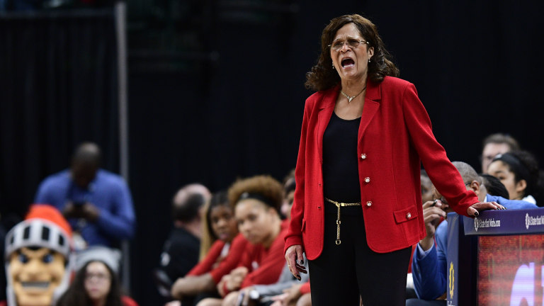Rutgers Scarlet Knights head coach C. Vivian Stringer yells to her team in the second half during the third round of the Big Ten Conference Tournament at Bankers Life Fieldhouse. Mandatory Credit: Marc Lebryk-USA TODAY Sports