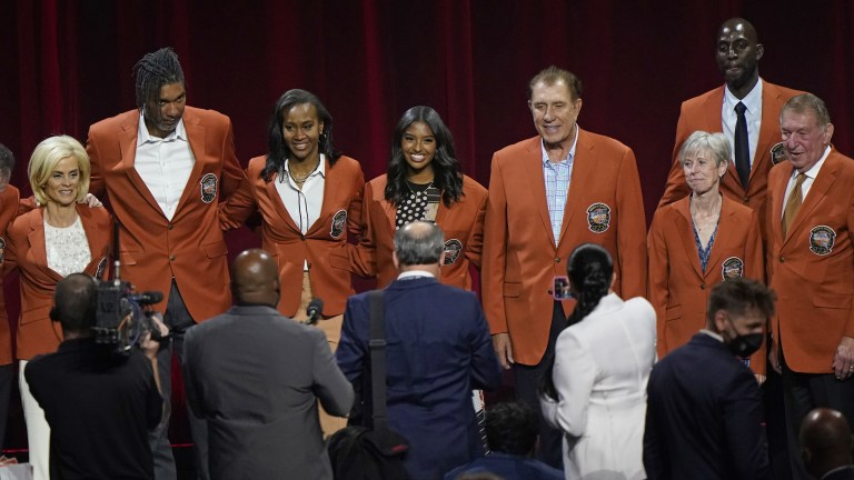 Saturday, May 15: Members of the 2020 Basketball Hall of Fame class pose for a photo on stage in their Hall of Fame jackets after a tip-off celebration and awards gala. From left to right, are: LSU coach Kim Mulkey, Tim Duncan, Tamika Catchings, Kobe Bryant's daughter Natalia, Rudy Tomjanovich, Barbara Stevens, and Kevin Garnett.