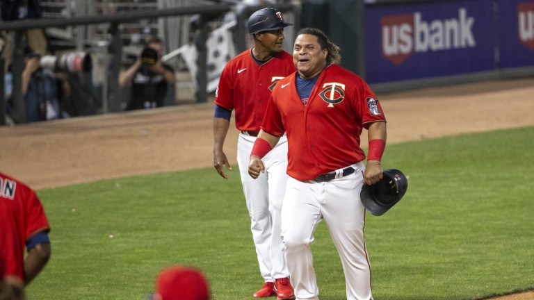 Thursday, June 10: Twins catcher Willians Astudillo (64) celebrates scoring a run in the ninth inning against the New York Yankees at Target Field.