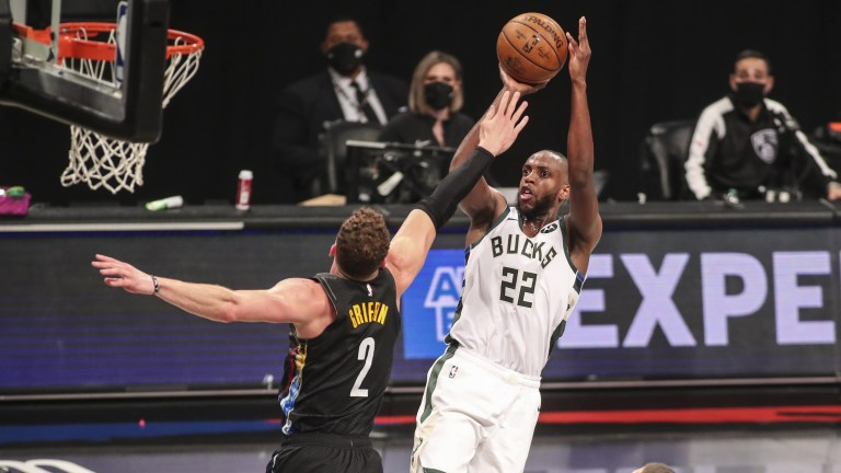 Khris Middleton (22) shoots over Brooklyn Nets forward Blake Griffin (2) in the second quarter during game two in the second round of the 2021 NBA Playoffs. at Barclays Center. Mandatory Credit: Wendell Cruz-USA TODAY Sports