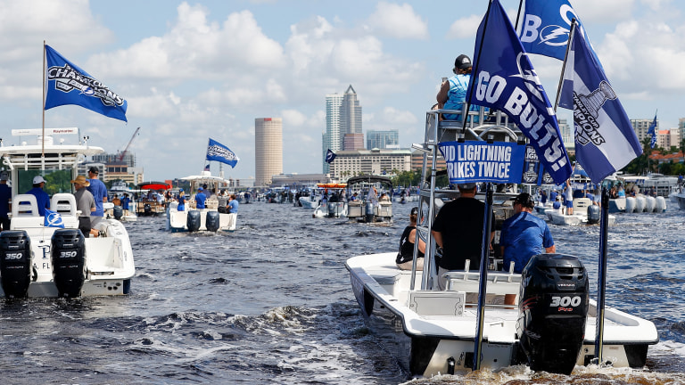 A general view of the Tampa Bay Lightning boat parade during the Stanley Cup Championship parade. Mandatory Credit: Kim Klement-USA TODAY Sports