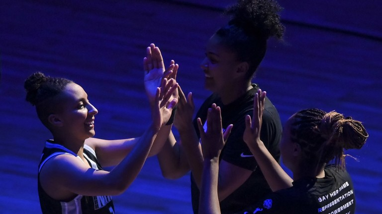 Wednesday, July 7: Minnesota guard Layshia Clarendon is introduced ahead of the Lynx's clash against the Dallas Wings at the Target Center.